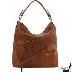 Hobo Handbag w Asymmetrical Zippered Compartment